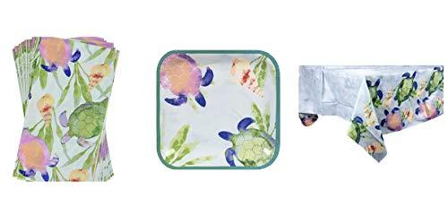 PARTY! Turtles Beach Bash Paper Bundle Set: Guest Napkins (14) Plates (20) Plus Table Cover