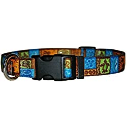 """Tiki Dog Collar - Size Small 10"""" to 14"""" Long - Made In The USA"""