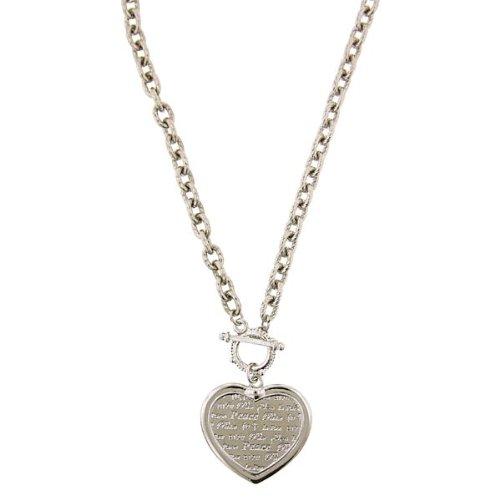 1928 Jewelry Silver-Tone Heart Peace Medallion (Heart Tiffany Style Necklace)