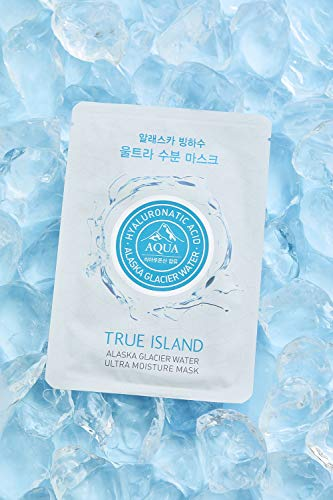 ([TRUE ISLAND] Alaska Glacier Water Ultra Moisture Mask (0.91 oz 10pcs) l Korean Facial Sheet Mask l Suitable for Daily Use to Keep the Skin Hydration with Hyaluronic)