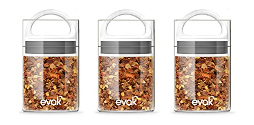Best PREMIUM Airtight Storage Container for Coffee Beans, Tea and Dry Goods - EVAK - Innovation that Works by Prepara, Glass and Stainless, White Gloss Handle, Mini: Set of 3
