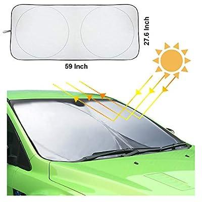 Hantun Windshield Sun Shade, 59 x 27.6 Inches 210T Reflective Polyester Foldable Windshield Sunshade for Car/Vehicle, Blocks Heat and Sun, Standard Size: Automotive