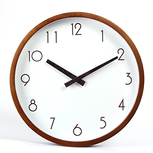 RBB 北欧の静かな、静かな、壁時計、ファッション、創造的なリビングルーム、木材、静かな時計、円形のクォーツ時計。,14インチ,小型デジタルスケールの木製フレームポインタのクルミ B07DMDDVQH 14インチ|小型デジタルスケールの木製フレームポインタのクルミ 小型デジタルスケールの木製フレームポインタのクルミ 14インチ