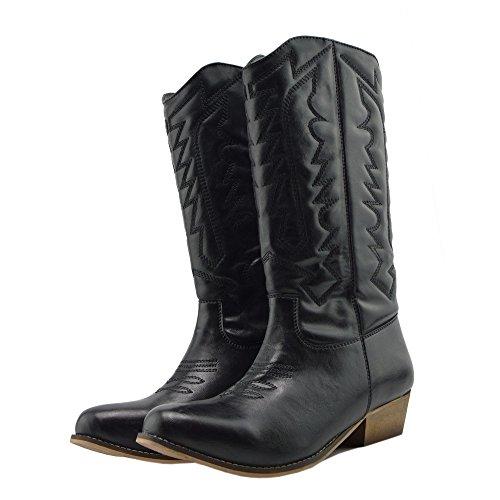Señoras Para Mujer De La Mitad De La Pantorrilla Bloque Talón De Equitación Cowboy Biker Boots Zip Ups Zapatos Black-SB