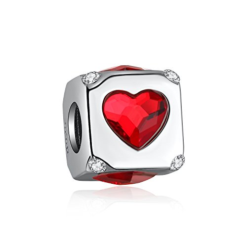 i'ange's 925 Sterling Silver Heart Shaped Design Bead Charms with Red Crystal, Silver Dangle Charms for Bracelets, Sweetheart (Sweetheart Shaped Crystal)