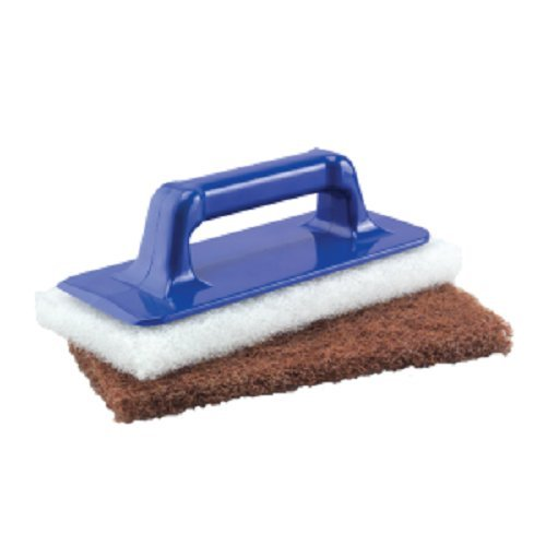 Tolco 280140 Hand Scrubber with 2 Pads, 9.25'' Height, 2.5  '' Width, Blue/White/Brown