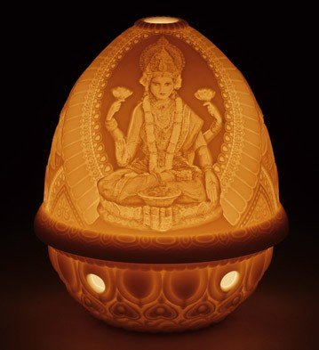 LITHOPHANE VOTIVE LIGHT GODDESS LAKSHMI Lladro Porcelain ()