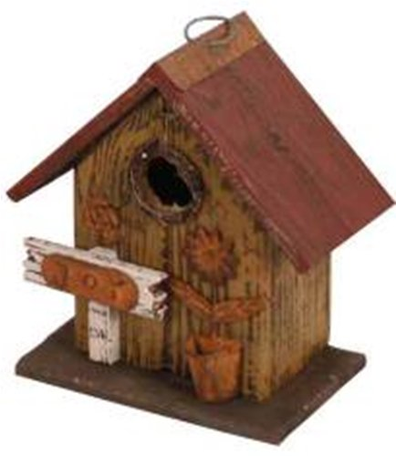 Cheap Garden Decoration HT10151MS Birdhouse, 8.5-Inch, Mustard