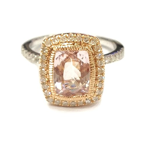 Cushion Morganite Engagement Ring Set Pave Diamond Wedding 14K White/Rose Two Tone Gold 6x8mm Bezel -