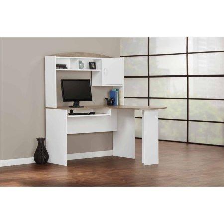 Mainstays 9324056pcom L Shaped Desk With Hutch White