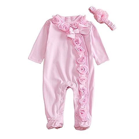 MIOIM Newborn Baby Girls Cotton Bodysuit Lace Flower Romper Front Buttons Jumpsuit - Flower Button