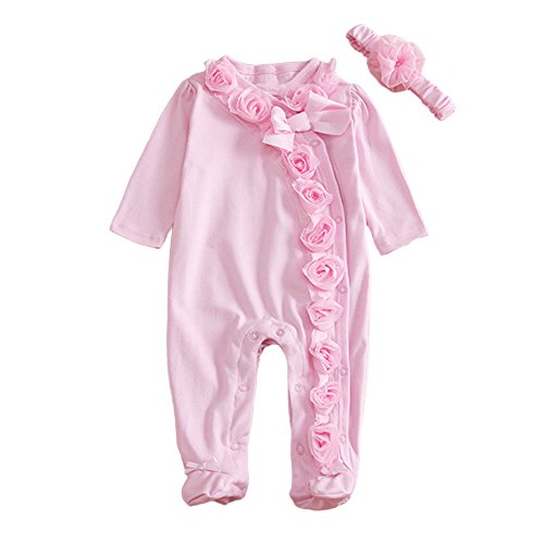 MIOIM Newborn Baby Girls Cotton Bodysuit Lace Flower Romper Front Buttons Jumpsuit (1-3M)