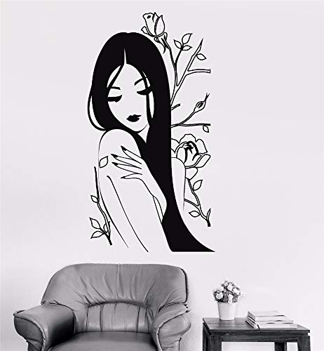 Poinly Wall Stickers Art DIY Removable Mural Room Decor Mural Vinyl Flower Rose Beautiful Woman Spa Interior Room ()