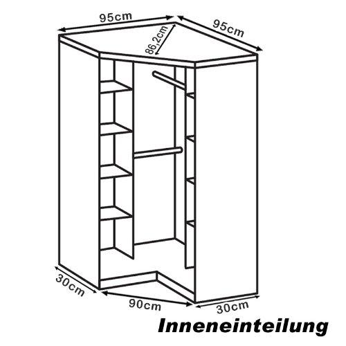 Eckkleiderschrank  Eckkleiderschrank mit Spiegel »BERLIN« Hochglanz black-alpinweiß ...