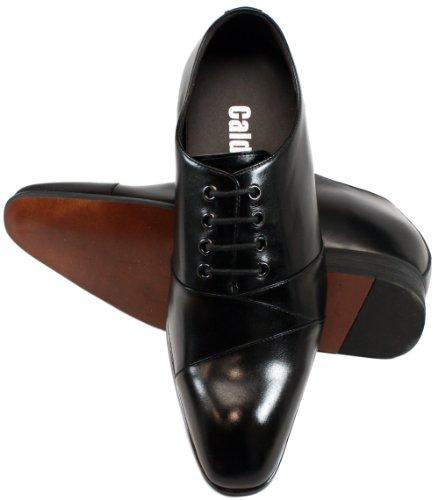 Calden–k323041–6,6cm Grande Taille–Hauteur Augmenter Chaussures ascenseur (en cuir noir à lacets)
