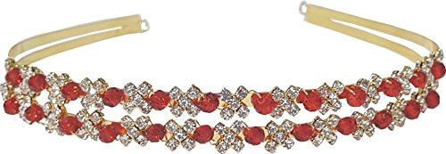 Shop Ginger Wedding Double Band Rhinestone Communion Tiara Headband Bridal Bridesmaid (Ruby Red, Gold Plated)
