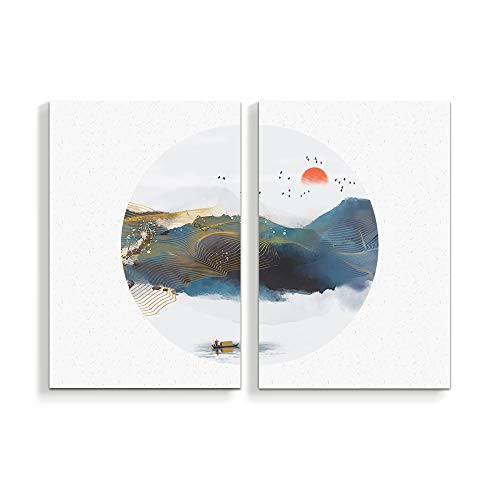2 Panel Chinese Traditional Landscape Painting Home Wall s for Bedroom Living Room Paintings Framed x 2 Panels