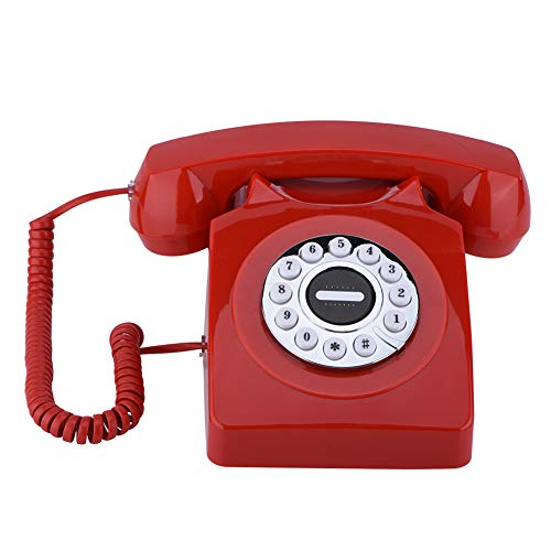 fosa Antique Retro Corded Telephone Classic Old Fashioned Landline PhoneTelephone for Home Hotel (Red)