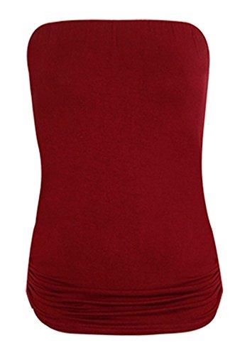 Camiseta palabra de honor con fruncido para mujer, tallas 34 - 48 borgoña