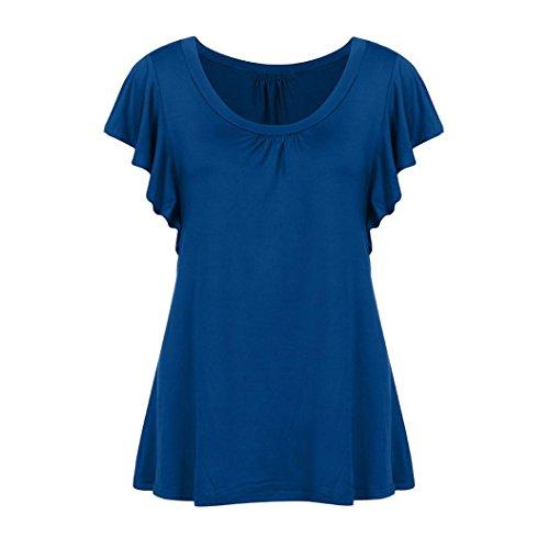 Women's Blouse Collo Upxiang Maniche U Donna A Blue Senza Camicia fqdwanwA