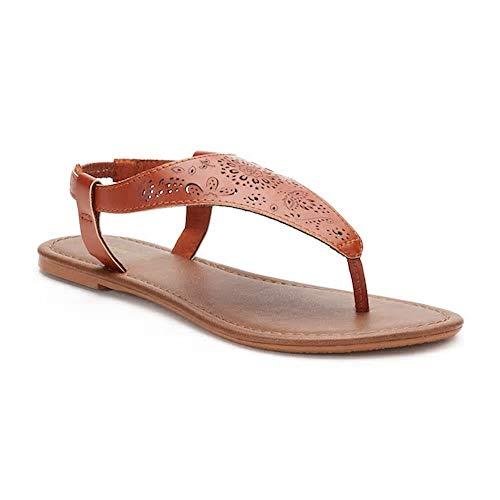 SONOMA Goods for Life Womens Cut-Out Filigree Shield Sandals, Cognac, Large (9-10) - Sonoma Cognac