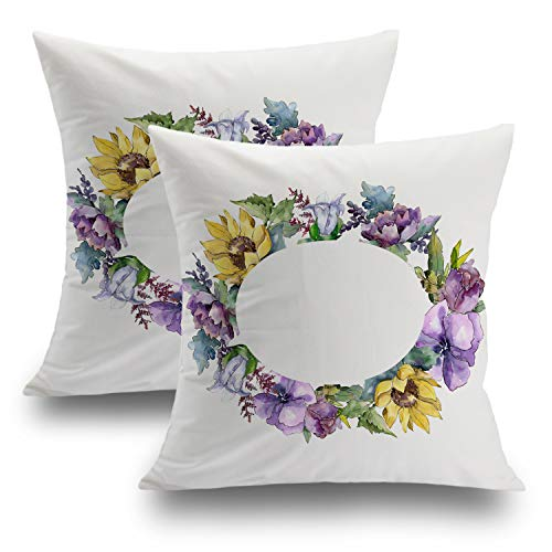 Shrahala Floral Pillow Covers, Decorative Pillowcases 18x18 inch Set of 2 Vintage Watercolor with Wildflowers Bud Leaves Flower with Cushion Case for Sofa Bedroom Car Throw Pillows Cushion