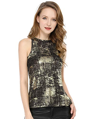 Allegra K Women's Metallic Shiny Tank Top Party Club A-Line Shimmer Camisole Vest Black XL (US -