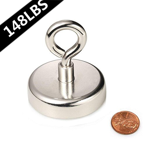 Strong Neodymium Fishing Magnets,AUTIDEFY 148LBS Pulling Force Super Powerful Round Magnet - Eye Bolt 1.89''(48 mm) Diameter for Retrieving in River and Magnetic Fishing by AUTIDEFY