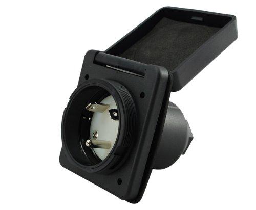 Conntek RV 30-Amp Straight Blade Black Squire Cover RV/Marine Inlet by Conntek