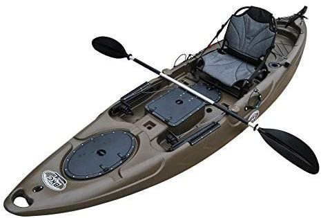 Brooklyn Kayak Company BKC UH-RA220 11.5 foot Angler Sit On Top Fishing Kayak with Paddles and Upright Chair and Rudder System Included