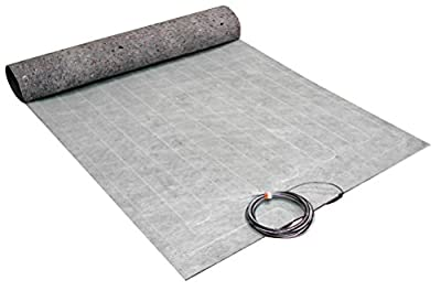 15 Sq. ft. Electric Under Floor Heating Mat for Laminate and Wood Floor Heating. Parameters: 120V, 1.0 A, 122 Wt., heated floor coverage - 10 ft. x 18 in., ThermoFloor Model TF1510-120