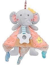 PomeloBaby Snipphandduk baby gosig leksak Minky Pricks mjuk gosedjur för flickor och pojkar från 0+ månader (elefant orange)