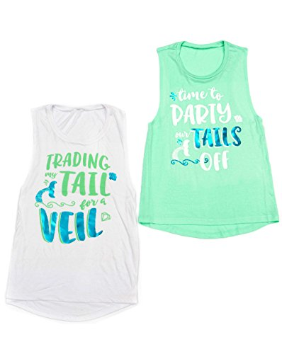 Flowy Mermaid Bachelorette Party Shirts - 'Trading My Tail For a Veil' and 'Time to Party Our Tails Off' (XL, White - Trading My Tail For a (Jersey Shore Outfits)