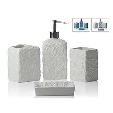 Designer 4-Piece Ceramic Bath Accessory Set | Includes Liquid Soap or Lotion Dispenser w/ Premium Metal Pump, Toothbrush Holder, Tumbler, Soap Dish | Wild Rose | Alpine White