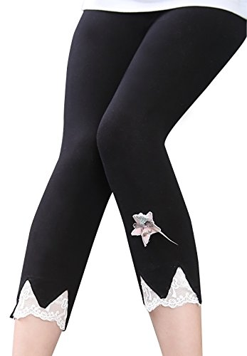 Happy Cherry Girls Black Size 10 Capri Legging Thin Summer Pants Solid Cotton Breathable Pantyhose - 9-10T