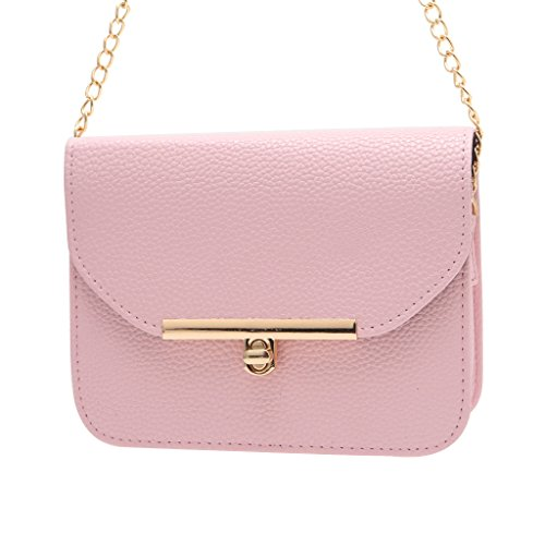 Designer Flap - BCHZ Women Small Designer With Flap Long Chain Faux Leather Crossbody Shoulder Bag (Pink)