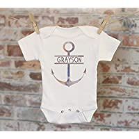 Anchor Boys Personalized Onesie - Custom Nautical Baby Boy Outfit Boat Theme Shower Gift