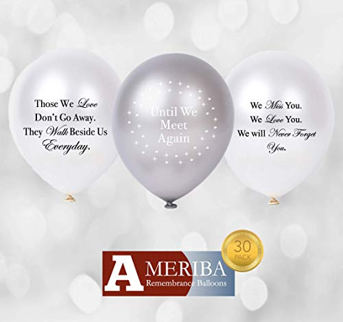 (Biodegradable Remembrance Balloons: 30pc White & Silver Personalizable Funeral Balloons for Balloon Releases & Sympathy Gifts | Created/Sold by AMERIBA, a USA company (Variety Pk White, Black Writing))