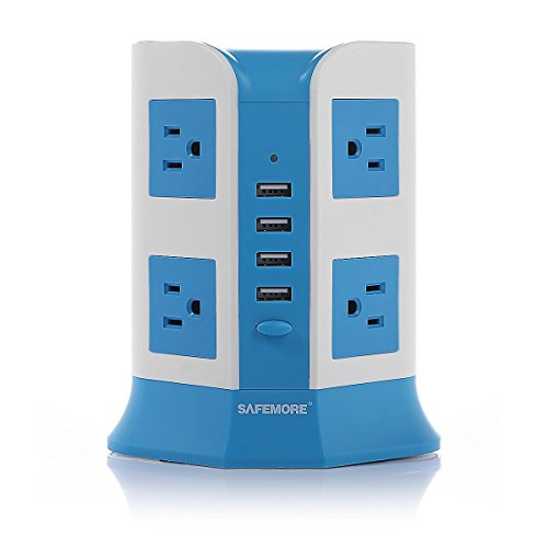Price comparison product image SAFEMORE Smart 8-Outlet with 4-USB Output Power Strip (Blue and White)