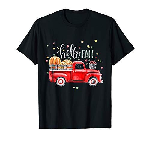 Hello Fall Vintage Pickup Pumpkin Patch Leaves T-Shirt T-Shirt (Hello Fall)