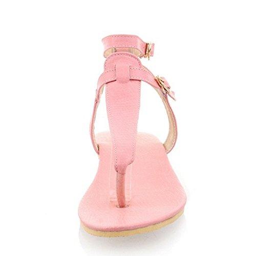 TAOFFEN Mujer Moda Clip Toe Open Back Sandalias T-strap Plano Al Tobillo Zapatos 771 Rosado