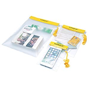 YUMQUA Clear Waterproof bags, Water Tight Cases Pouch Dry Bags For Camera Mobile Phone Maps Pouch Beach Kayak Military Boating Document Holder - 3 Piece Set