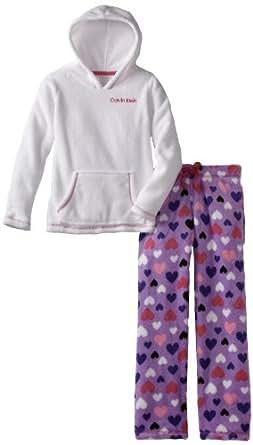 Calvin Klein Big Girls'  CK 2 Piece Heart Pajama Set, White, Medium/10-12