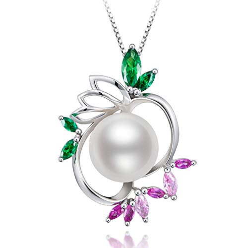 HXZZ Fine Jewelry Gifts for Women 925 Sterling Silver Freshwater Cultured White Pearl Pendant Necklace Violet Green