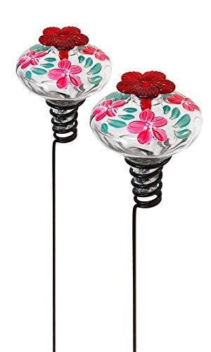 BestNest Set of 2 Clear Mini-Blossom Botanica Staked Hummingbird Feeders (Staked Hummingbird Feeder)