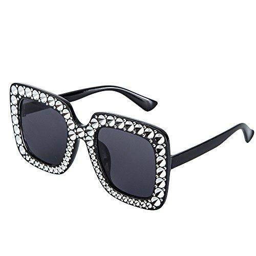 JOJO'S SECRET Oversized Square Sunglasses, Brand Designer Sunglasses For Women JS045 (No crystal) (Black, - Oversized Crystal