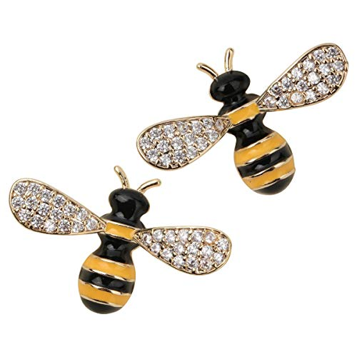 YACQ Honey Bee Stud Earrings Crystal Costume Jewelry for Women Teen Girls (D)
