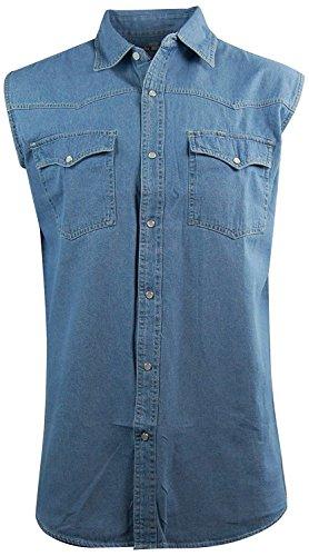 Canyon Guide Men's Sleeveless Denim Biker Shirt; Western Snap Front (Large, (Denim Biker Shirt)