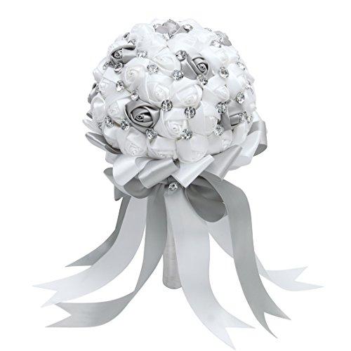 FAYBOX Crystal Satin Rose Bridal Bridesmaid Bouquets Wedding Flower Decor Silver - Make Rose Wedding Bouquet