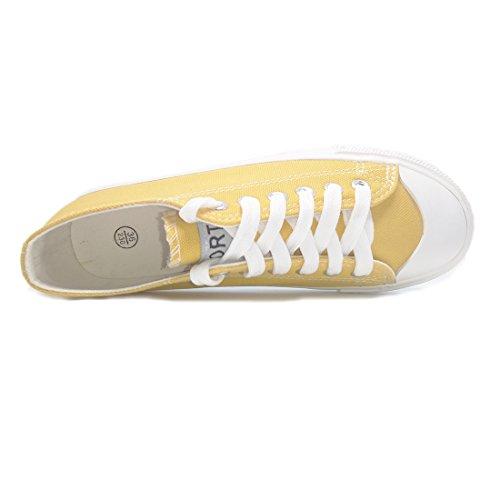 Anshoe 7 Färg Kvinna Mode Spets Duk Skor Klassiska Sneaker Gul Färg 5b (m) Oss